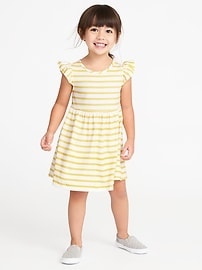 Striped Flutter-Sleeve Jersey Dress for Toddler Girls