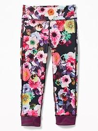 Floral-Print Stripe-Cuff Crop Leggings for Girls