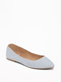 Printed Pointy-Toe Ballet Flats for Women