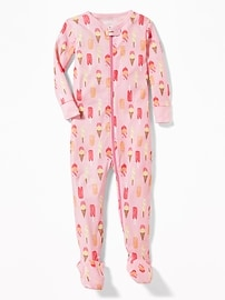 Ice Cream-Print Footed Sleeper for Toddler & Baby