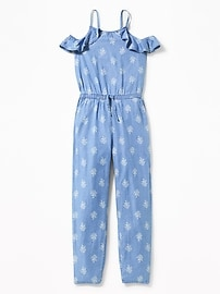 Ruffled Floral Chambray Jumpsuit for Girls