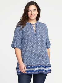 Printed Lace-Up Neck Plus-Size Blouse