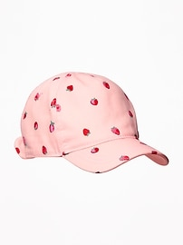 Strawberry-Print Bow-Tie Baseball Cap for Toddler Girls