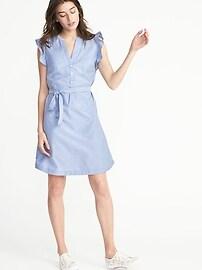 Sleeveless Ruffle-Trim Tie-Belt Shirt Dress for Women