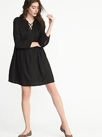 Lace-Up-Yoke Pintuck Swing Dress for Women