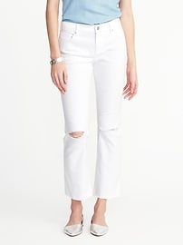 Cropped White Flare Ankle Jeans for Women