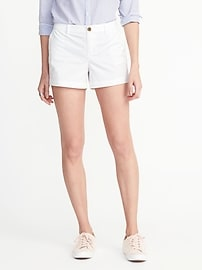 """Mid-Rise Everyday White Shorts for Women (3 1/2"""")"""