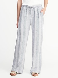 Striped Linen-Blend Soft Pants for Women