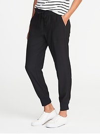 Mid-Rise Knit-Waist Performance Pants for Women