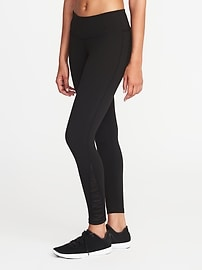Mid-Rise 7/8-Length Mesh-Trim Compression Leggings for Women