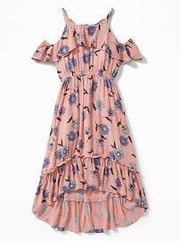 Ruffled Cold-Shoulder Hi-Lo Hem Dress for Girls