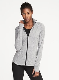 Full-Zip Melange-Stripe Performance Jacket for Women