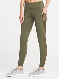 Legging Go-Dry à taille mi-haute avec garniture en maille pour femme