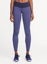 Mid-Rise Color-Block Run Leggings for Women