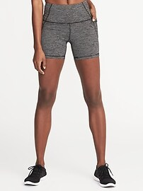 "High-Rise Side-Pocket Compression Shorts for Women (5"")"