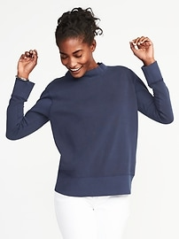 Relaxed Funnel-Neck Fleece Sweatshirt for Women