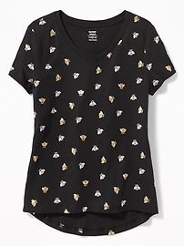 Relaxed Printed V-Neck Tee for Girls