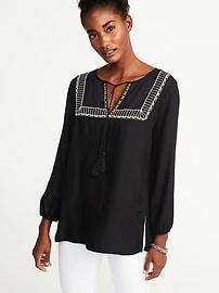 Relaxed Embroidered Tunic for Women