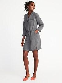 Tencel&#174 Tie-Belt Utility Shirt Dress for Women