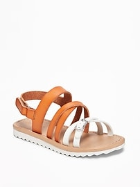 Strappy Two-Tone Sandals for Toddler Girls