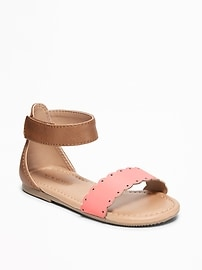 Color-Blocked Scalloped-Strap Sandals for Toddler Girls