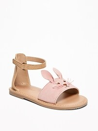Sueded Bunny Sandals for Toddler Girls