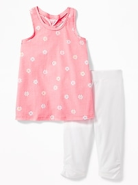 Printed Tunic Tank & Leggings Set for Toddler Girls