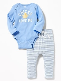 """Chicks Love Me"" Bodysuit & Jersey Pants Set for Baby"
