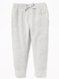 Eyelet-Trim French Terry Joggers for Toddler Girls