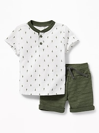 Henley and Drawstring Shorts Set for Baby