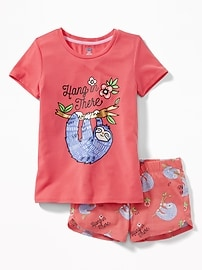 2-Piece Graphic Sleep Set for Girls