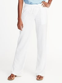 Mid-Rise Soft Wide-Leg Linen-Blend Pants for Women