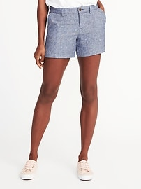 Mid-Rise Linen-Blend Chambray Shorts for Women