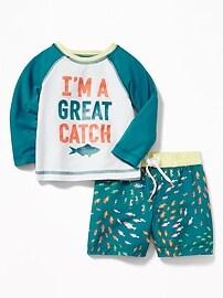 """""""I'm A Great Catch"""" Rashguard & Swim Trunks Set for Baby"""