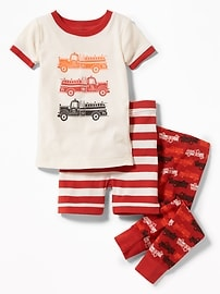 3-Piece Firetruck-Graphic Sleep Set for Toddler & Baby
