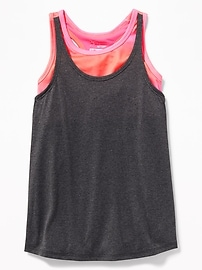 2-in-1 Twist-Back Performance Tank for Girls
