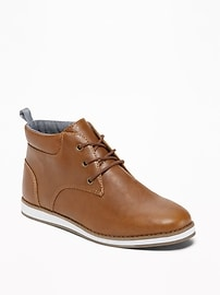 Faux-Leather Lace-Up Chukkas for Boys