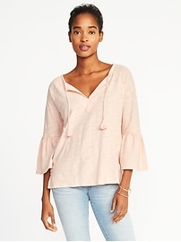 Tassel-Tie Ruffle-Sleeve Swing Top for Women