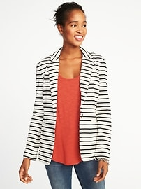 Classic Striped Knit Blazer for Women