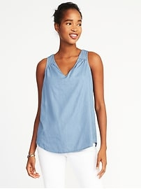 Relaxed Cutout-Back V-Neck Top for Women