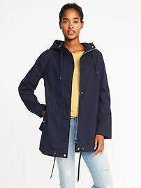 Hooded Canvas Rain Jacket for Women