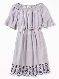Striped Cinched-Waist Cutwork-Hem Dress for Girls