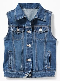 Button-Front Denim Vest for Girls