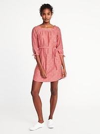 Square-Neck Clip-Dot Shift Dress for Women