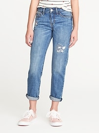 Embroidered-Flower Boyfriend Jeans for Girls