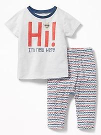 Ensemble t-shirt à imprimé et pantalon en jersey pour bébé