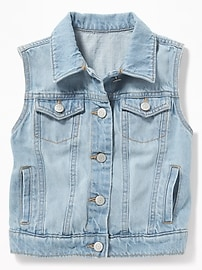 Light-Wash Denim Vest for Girls