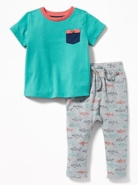 Chest-Pocket Tee & Printed Jersey Pants Set for Baby