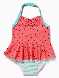 Watermelon-Print 2-in-1 Swimsuit for Toddler Girls