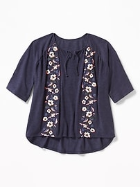 Raglan-Sleeve Puff-Print Top for Girls